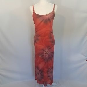 SunShine Red Tie-Dye Long Dress One Size Fits Most
